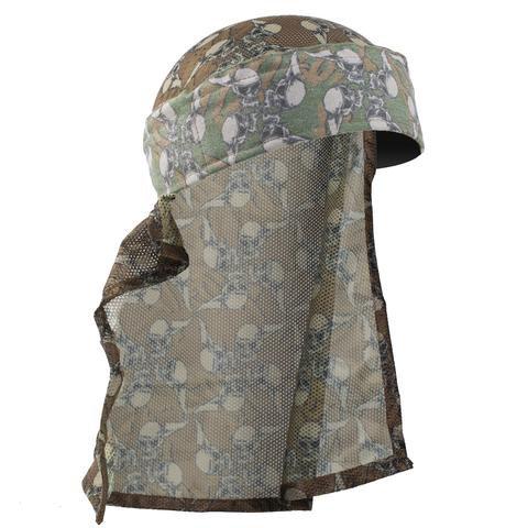 HK hostilewear headwrap (forest skull/tan mesh)