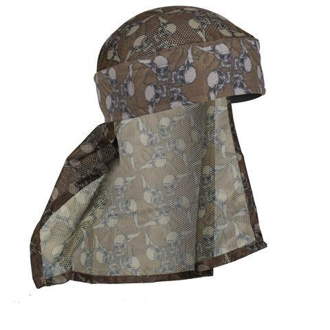 HK hostilewear headwrap (tan skull/tan mesh)