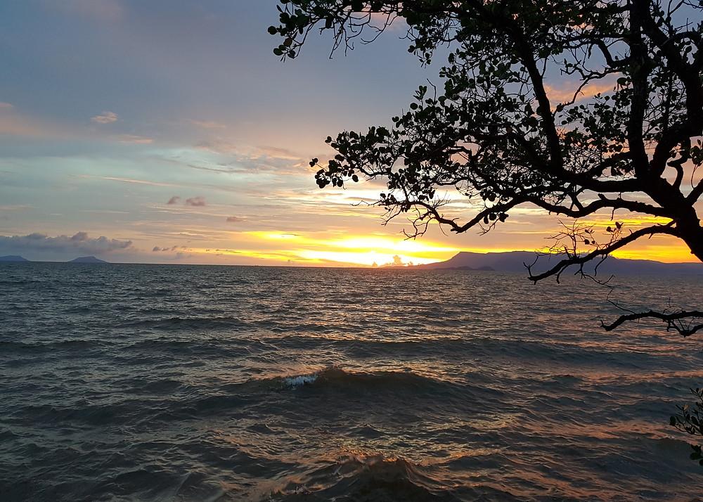 Wieczorny widok na Zatokę Tajlandzką o zachodzie słońca. Drzewo zwisa nad wzburzonym morzem, pomarańczowe słońce zachodzi na horyzoncie