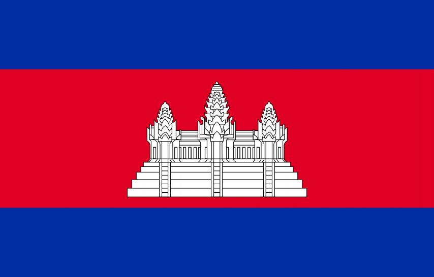 Oficjalna flaga Kambodży, poziomy czerwony pas na niebieskim tle z ryciną Angkor Wat