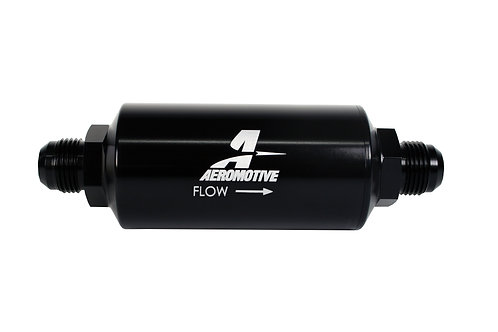 Filter, In-Line, 40-m Stainless Mesh Element, AN-10 Male, Bright-Dip Black
