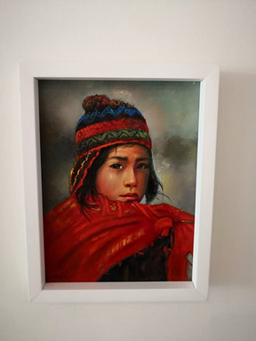 Retrato óleo con marco blanco 1a
