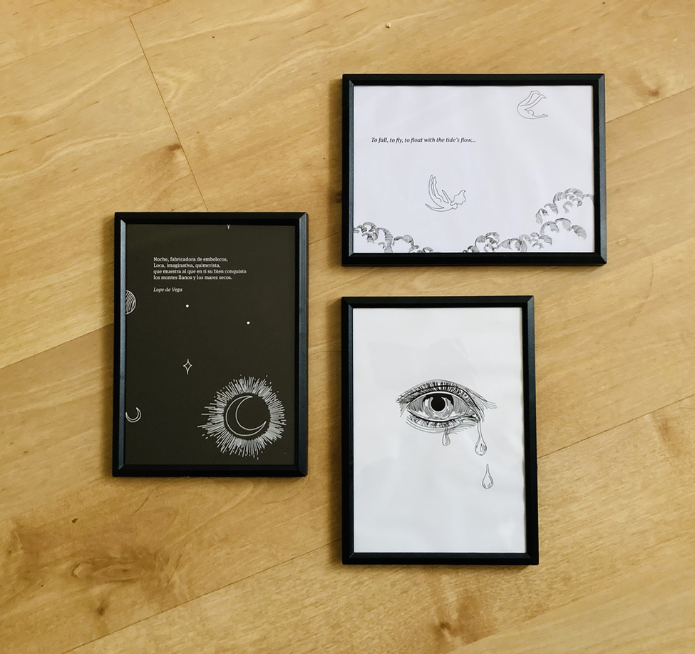 AURIC FRAMED PRINTS Choose your favorite illustration and we will send you an A5 framed print. More designs available.  £15 (each)  plus Delivery  ​