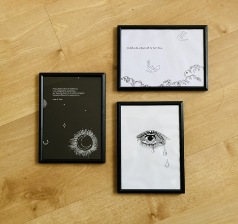 AURIC FRAMED PRINTS Choose your favorite illustration and we will send you an A5 framed print. More designs available.  £15 (each)  plus Delivery  