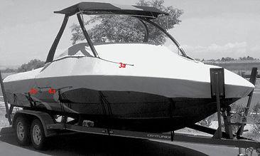 semi-custom boat cove with towe slots - install diagram