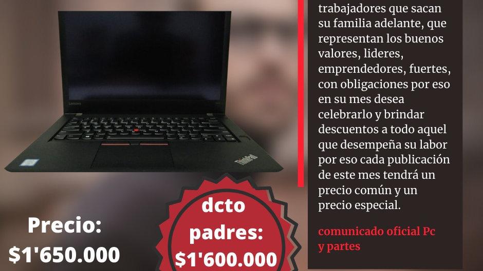 Portátil Lenovo t470 i5 de sexta gen táctil