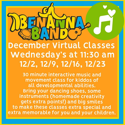 Four Wednesday December Interactive Music Classes at 11:30 AM EST