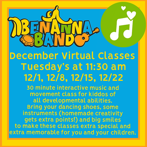 Four Tuesday December Interactive Music Classes at 11:30 AM EST