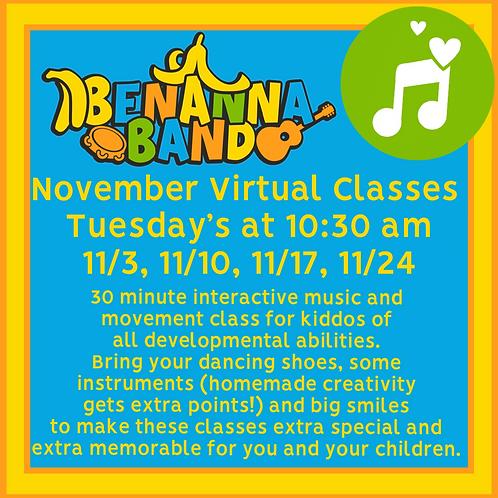 November Virtual Music Classes at 10:30 AM EST