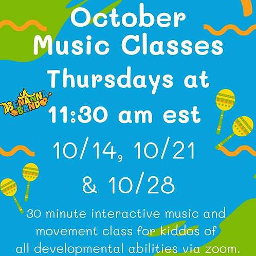 October Thursday Morning Virtual Music Classes