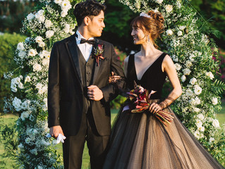 ブラックドットのドレスがお似合いな花嫁様からお式のお写真をいただきました😍✨