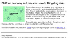 New briefing - Platform economy and precarious work: Mitigating risk