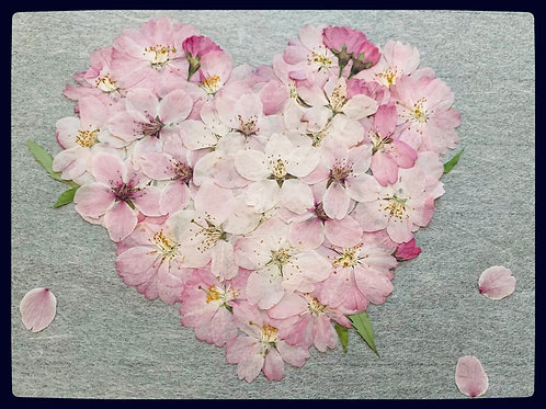 Pressed Flower Art in Heart Shape