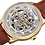 Thumbnail: Gold Akribos XXIV Men's Automatic Skeletal Watch with Brown Leather Strap