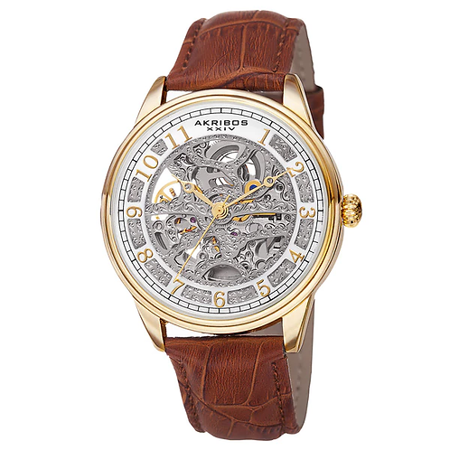 Gold Akribos XXIV Men's Automatic Skeletal Watch with Brown Leather Strap