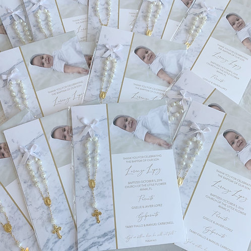 Marble Baptism Favor Cards With Rosaries | 25