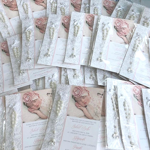 Grey Lace Baptism Cards with Rosaries | 75