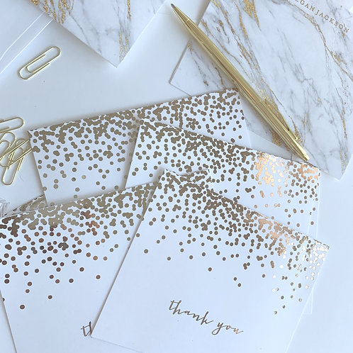 Rose Gold Foil Confetti Thank You Cards | boxed set of 12