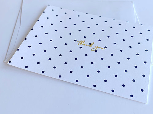 Polka Dot + Gold Foil Thank You Cards | Boxed Set of 12