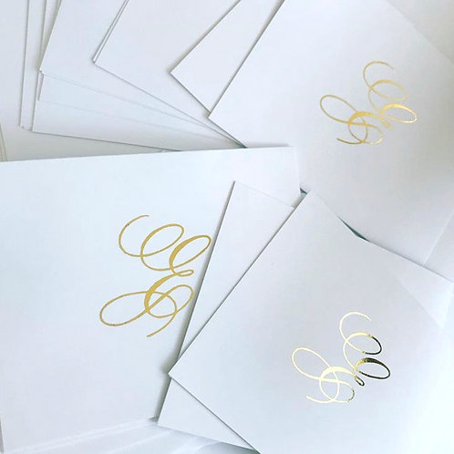 Gold Foil Initial Blank Cards | 50