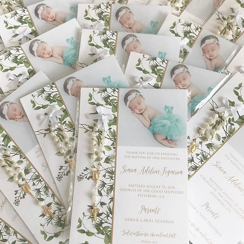 Green Foliage Baptism Favor Cards With rosaries | 50