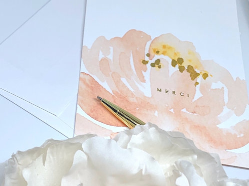 Merci Watercolor Peony + Gold Foil Thank You Cards | Boxed set of 12
