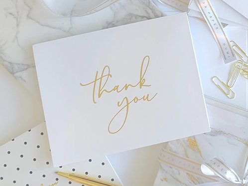 Gold Foil Thank You Cards | 50