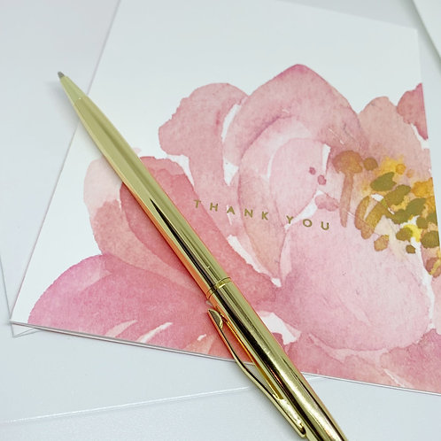 Watercolor Peony + Foil Thank You Cards | Box of 12