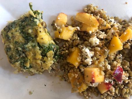 Kale & Mushroom frittata with Freekeh & Mango Super Salad