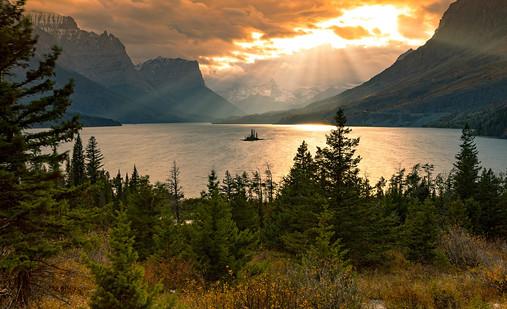 goose island glacier national park sunset