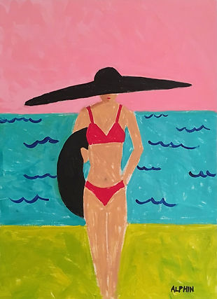 Debby Alphin, contemporary artist, beach art, people, art