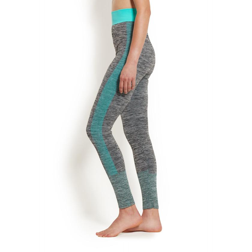heathered gray and teal yoga pants