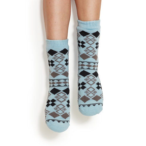 Cozy Patterned Blue Socks