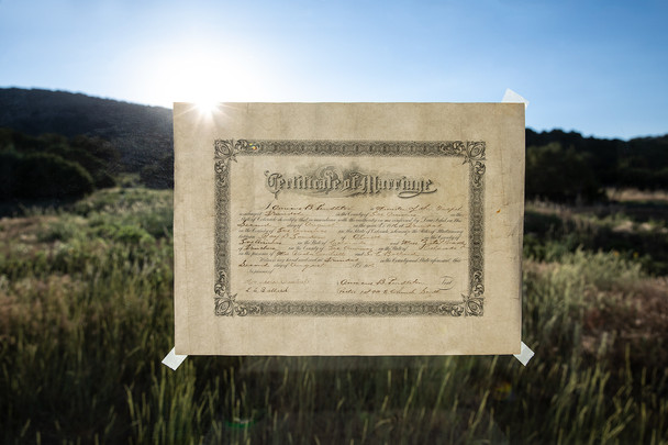 """They were married in Trinidad, Colorado on August 2nd and had the wedding dance on August 5th, 1916.  Their wedding announcement included an introduction of the couple including, """"The groom is a worthy and industrious young farmer and has already a cozy home on his ranch, where the  newlyweds will at once go to housekeeping."""" Roy """"Dick"""" and Zita's marriage certificate."""