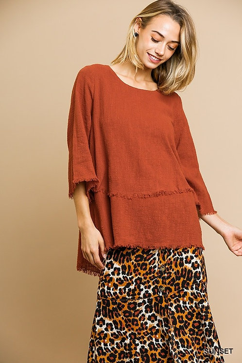 Umgee Plus 3/4 Sleeve Round Neck Layered Top With Frayed Hem