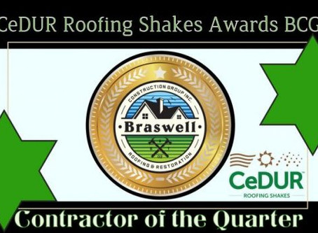 Best Roofer Greensboro GA Awarded CeDUR Roofing Shakes Contractor of the Quarter