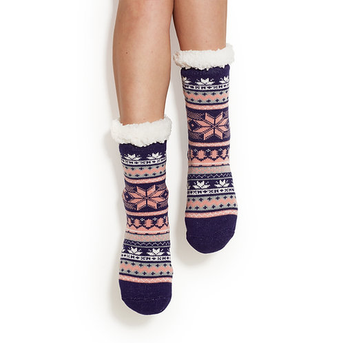 Pink & Navy Sherpa Socks