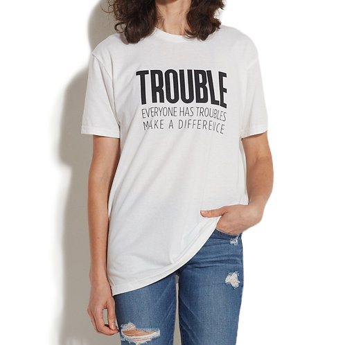 Trouble Clothes White Tee