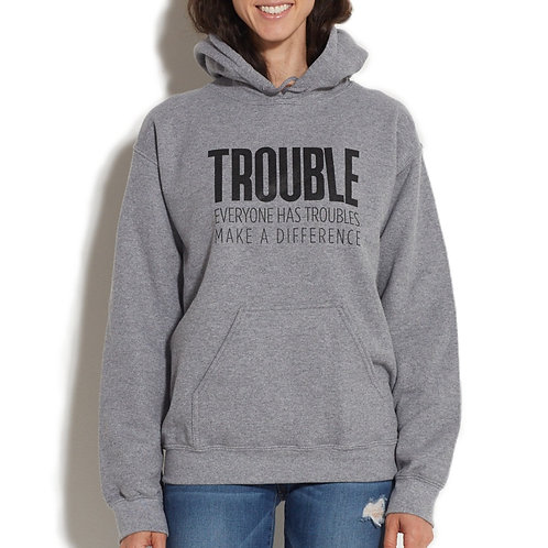 Trouble Clothes Gray Hooded Sweatshirt
