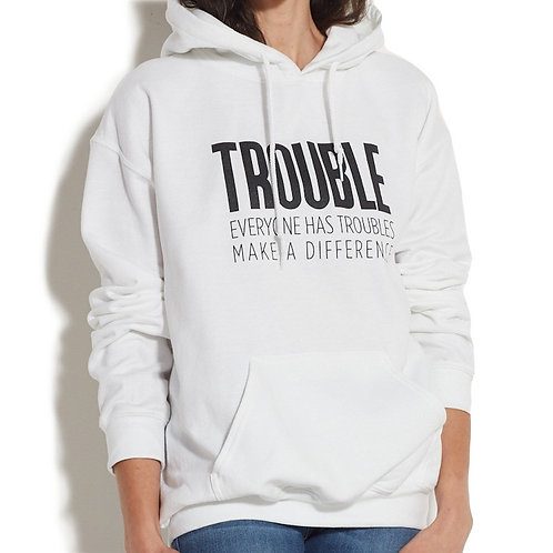 Trouble Clothes White Hooded Sweatshirt