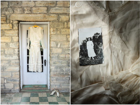 Her wedding dress in her home, 2019.                                                        Day of the wedding dance photo, 1916 photographed on dress.
