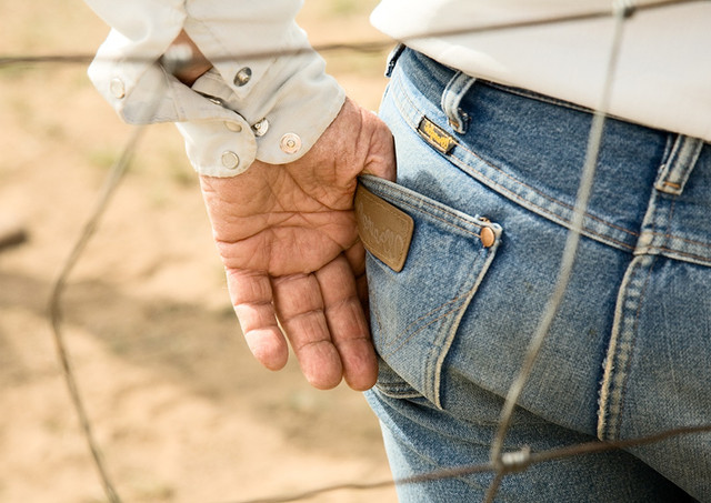 Hand in the pocket of wranglers