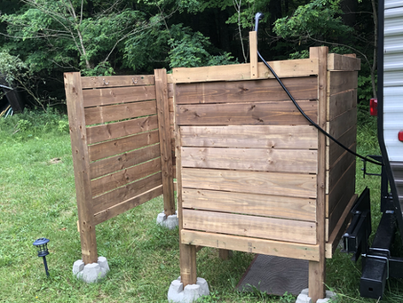 Building an outdoor shower in the woods!