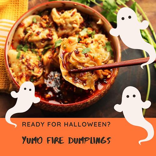 Halloween Fire Dumplings with Kimchi Sauce