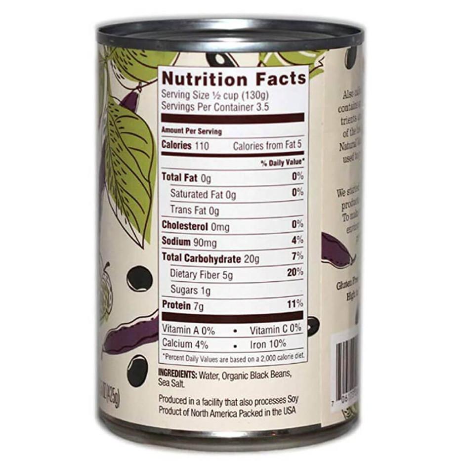 Natural Value Organic Black Beans - Back