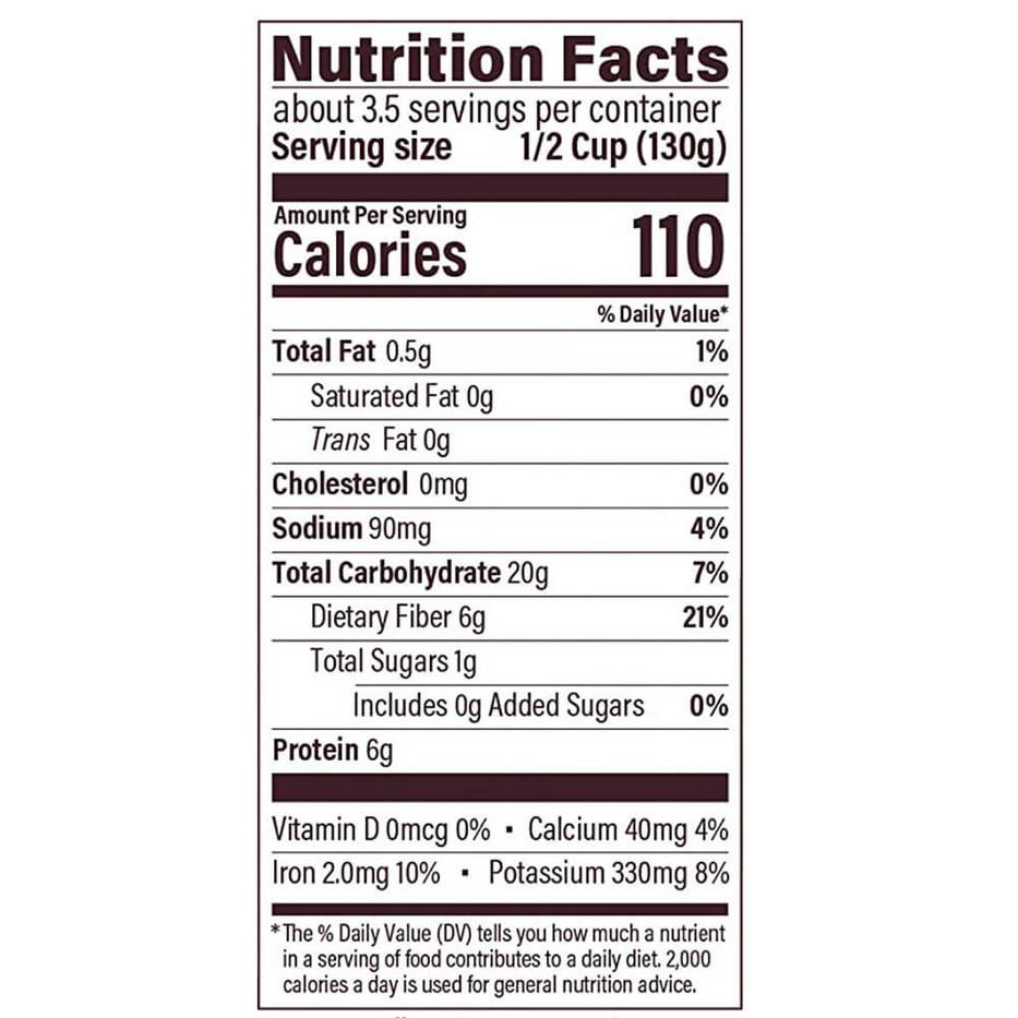 Natural Value Organic Black Beans - Nutrition
