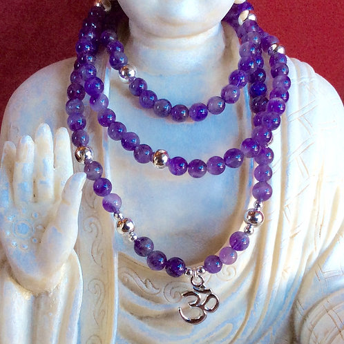 Amethyst OM Mala Necklace, 108 beads