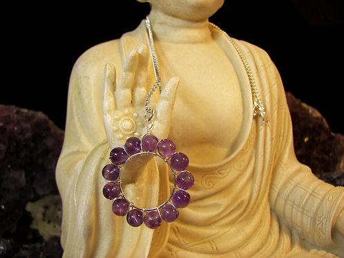 Amethyst Circle Pendant & Chain