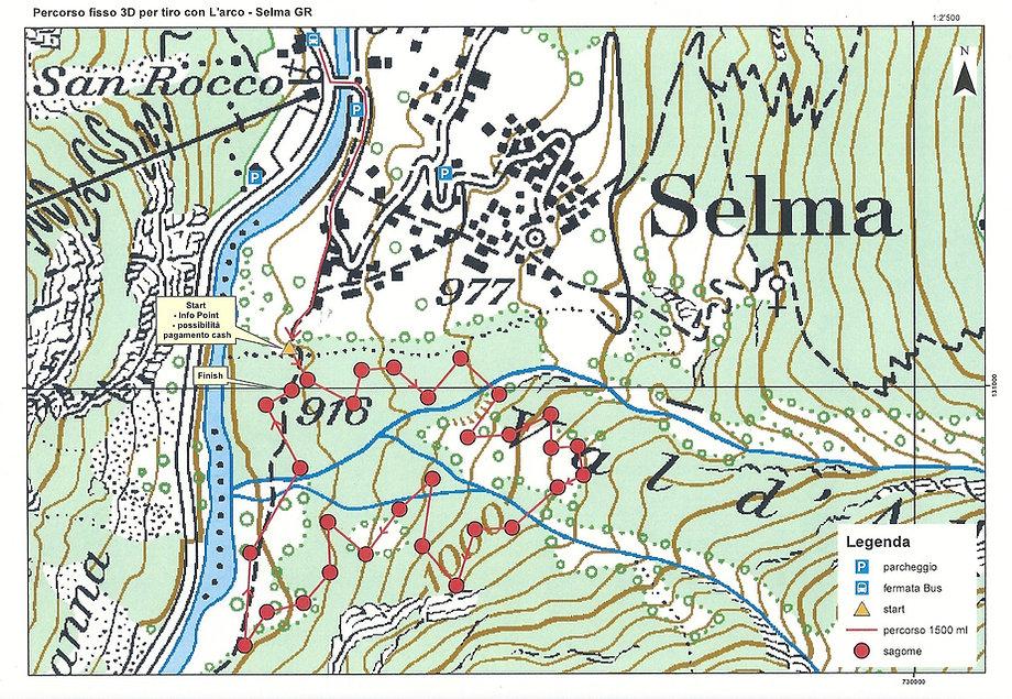 Mappa del percorso fisso 3D per tiro con arco, Selma GR (STAC)