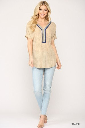 Heather Embroidery Tunic Top